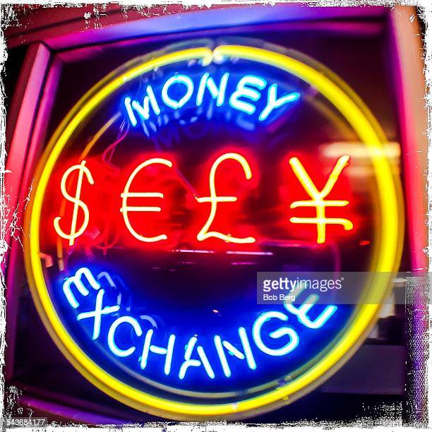 Santa Monica Ca March 9 2015 A money exchange neon light at night