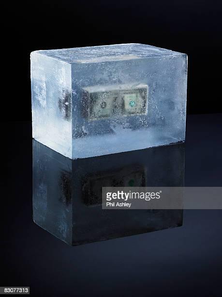 money frozen in ice