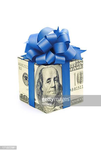 Money Gift of Dollar Bill with Blue Ribbon on White