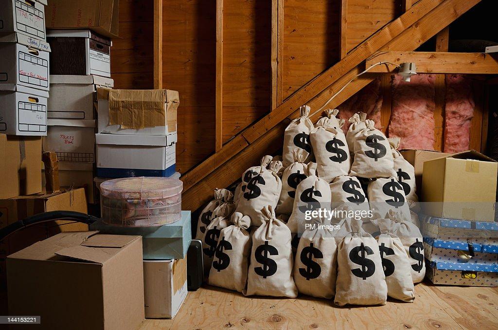 Money hidden in attic : Stock Photo