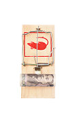Roll of ten thousands japanese yen bill in a mousetrap isolated on white background