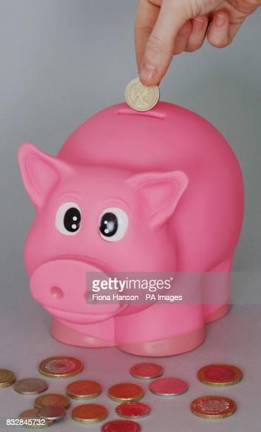 Money is put into a pink piggy bank money box