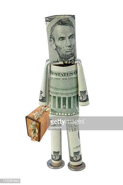Geld Mann mit Bargeld Suitecase