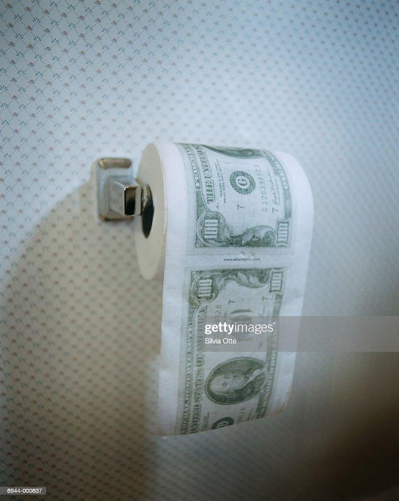 Money on Toilet Paper Roll : Stock Photo