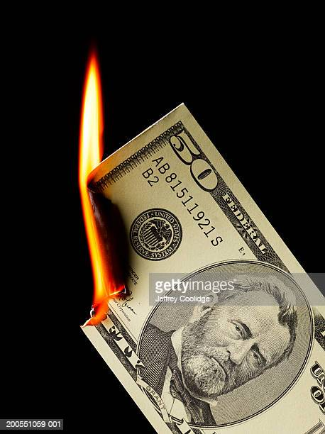 Money paper currency burning