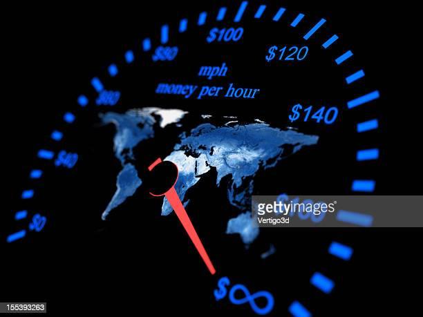 Velocímetro concepto de dinero por hora