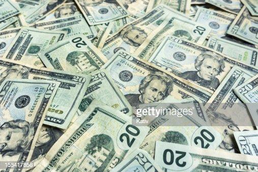 Money Pile $20 dollar bills