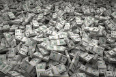 Bundles of $100 US dollar bills scattered randomly. Billions of dollars worth of money spread over the ground and viewed from above. A sea of money and great background.