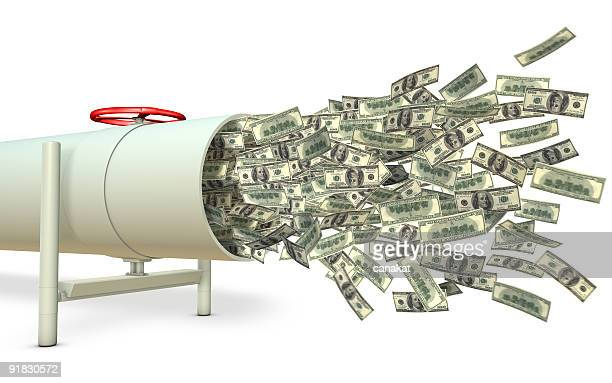 Money pouring out of a pipe