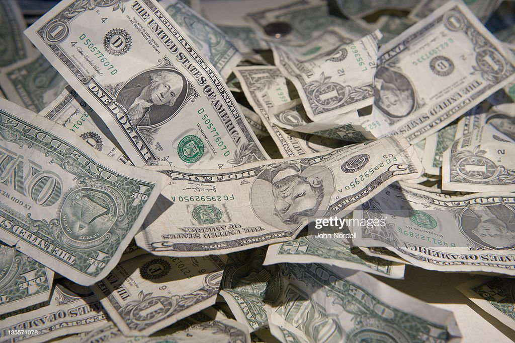 Money visitors donated at the Massachusetts Museum of Contemporary Art in North Adams, Massachusetts : Stock Photo
