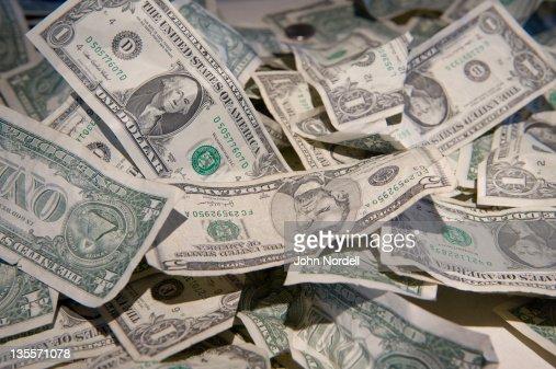 Money visitors donated at the Massachusetts Museum of Contemporary Art in North Adams, Massachusetts : Foto de stock