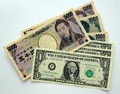 money Yen and Dollar banknotes