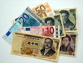 money Yen Euro and Dollar banknotes