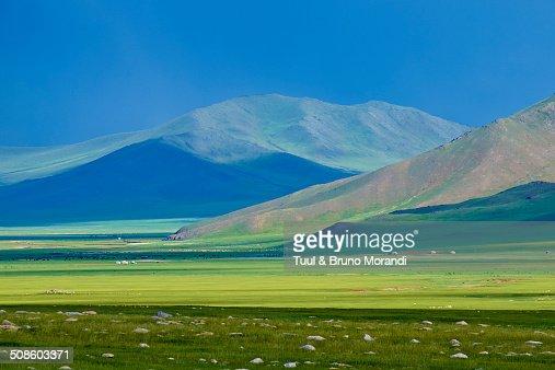 Mongolia, Bayankhongor province, steppe landscape : Stock Photo