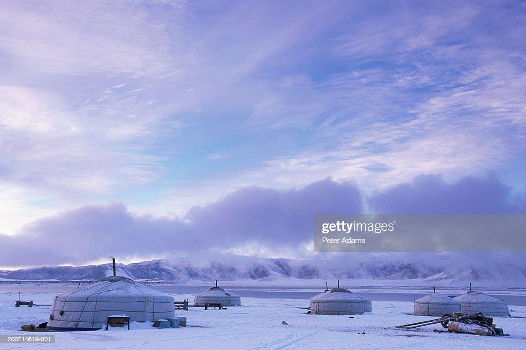 Mongolia, gers by White Lake : Stock Photo