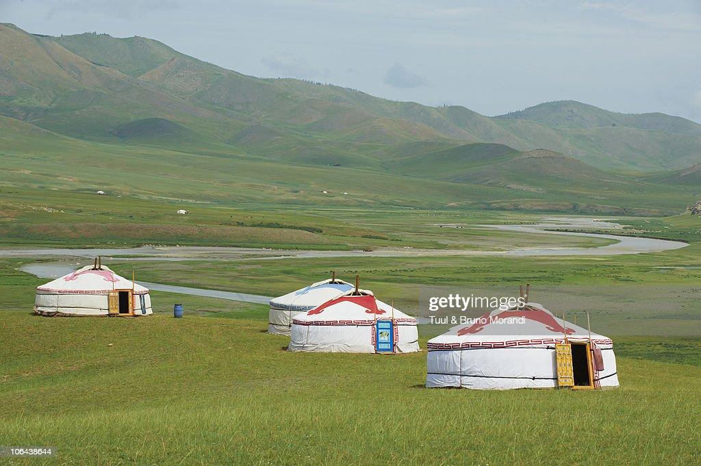 Mongolia, Orkhon valley, tourist yurt camp. : Stock Photo