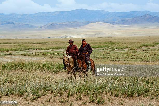 Mongolia, Tov province, nomad in the steppe