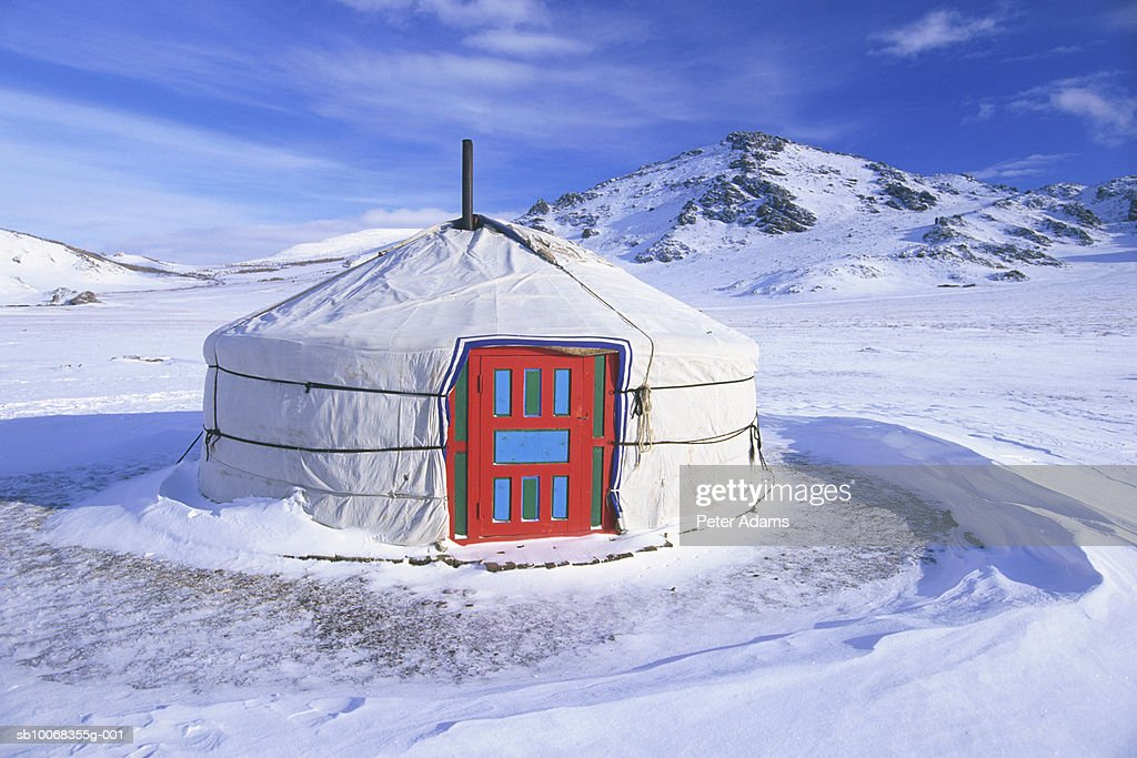 Mongolia, White Lake, Ger (Yurt) : Stock Photo