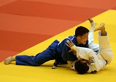 Mongolian Boldbaatar Ganbat competes with Russian Beslan Mudranov on August 25 2013 during the under 60 kg category final of the IJF World Judo...