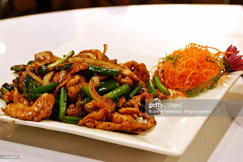 Mongolian chicken : Stock Photo