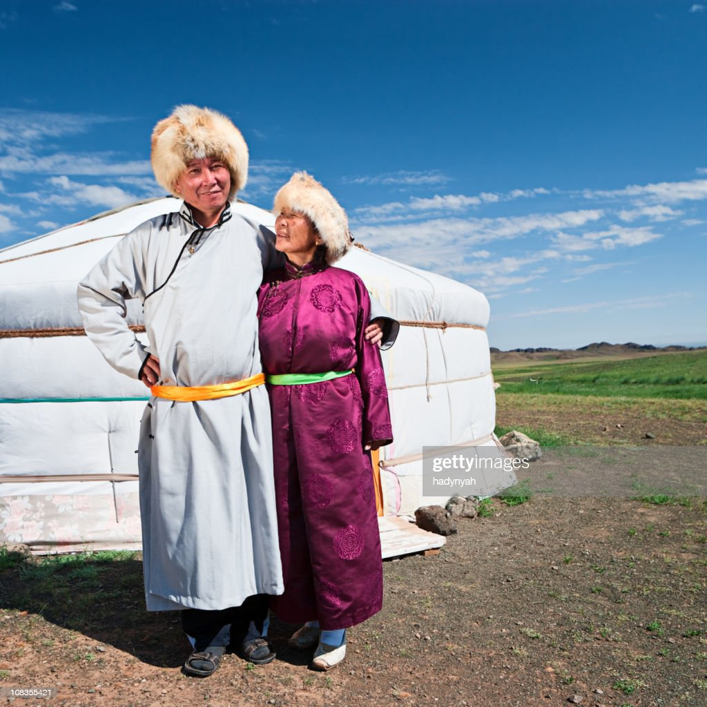 Mongolian couple in national clothing : Stock Photo