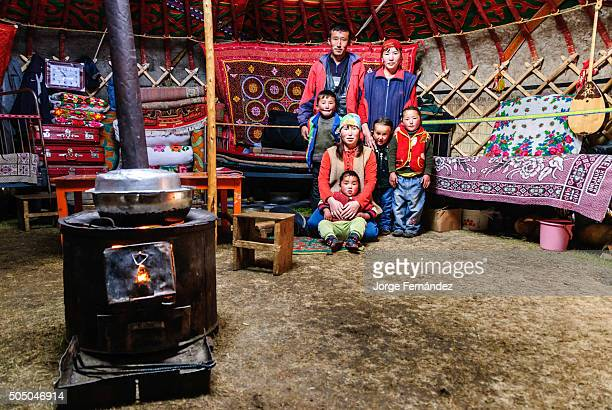 Mongolian family inside a yurt