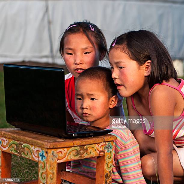Mongolian kids with laptop