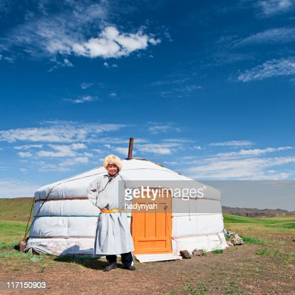 Mongolian man in national clothing : Stock Photo