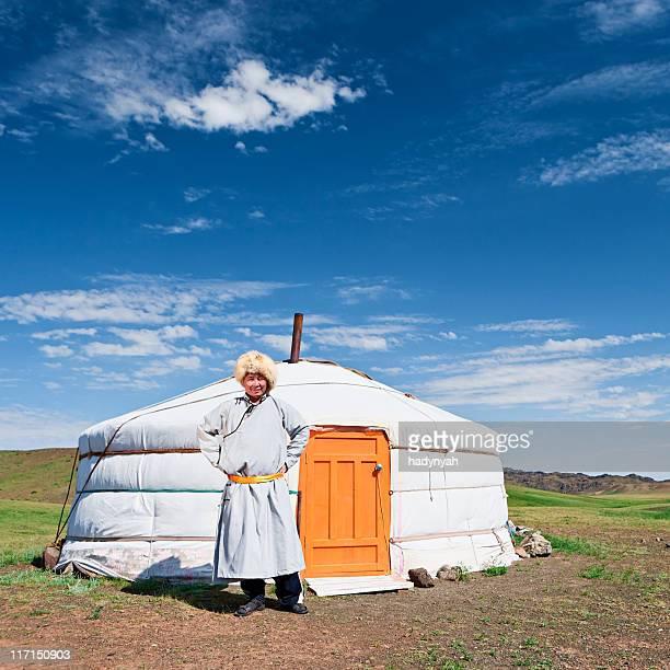 Mongolian man in national clothing