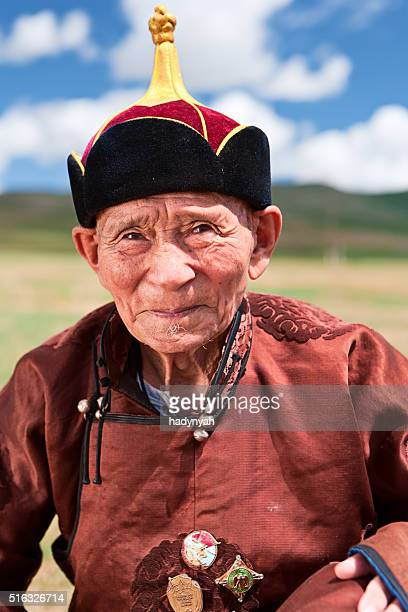 Mongolian old man in national clothing during Naadam