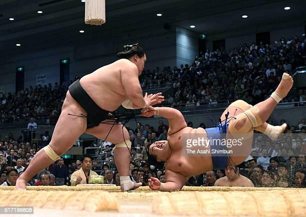 Mongolian ozeki Terunofuji throws ozeki Kotoshogiku to win during day eleven of the Grand Sumo Spring Tournament at the Edion Arena Osaka on March 23...