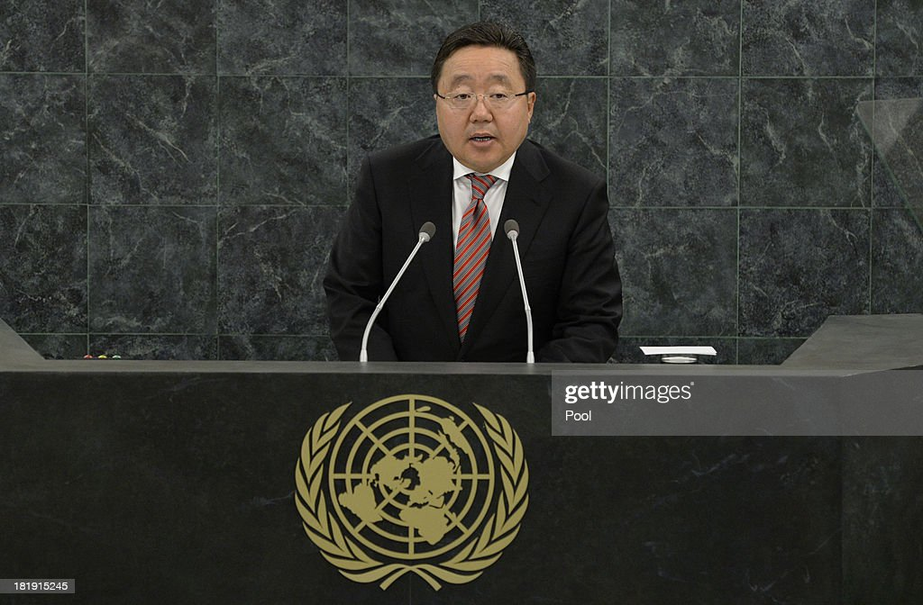 Mongolian President Tsakhia Elbegdorj addresses a High-Level Meeting on Nuclear Disarmament during the 68th United Nations General Assembly at U.N. headquarters on September 26, 2013 in New York City. Over 120 prime ministers, presidents and monarchs are gathering this week for the annual meeting at the temporary General Assembly Hall at the U.N. headquarters while the General Assembly Building is closed for renovations.