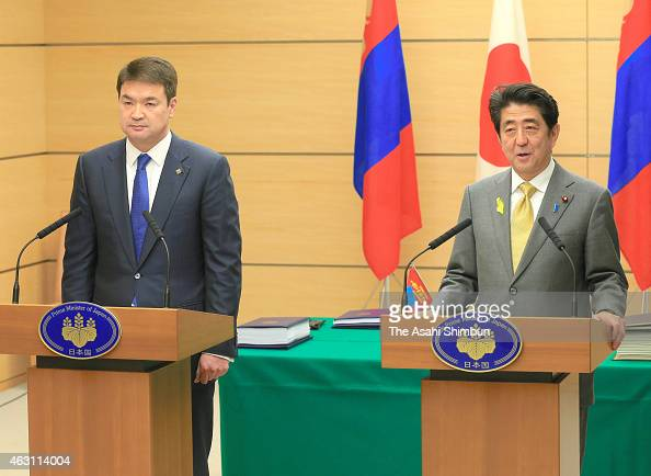 Mongolian Prime Minister Chimed Saikhanbileg Visits Japan and Japanese Prime Minister Shinzo Abe attend a joint press conference after their summit...