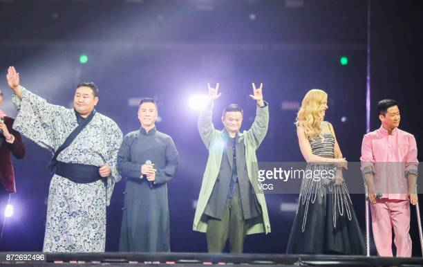 Mongolian sumo champion Asashoryu Akinori actor Donnie Yen Alibaba Group Chairman Jack Ma actress Nicole Kidman and actor Wu Jing attend 2017 Alibaba...