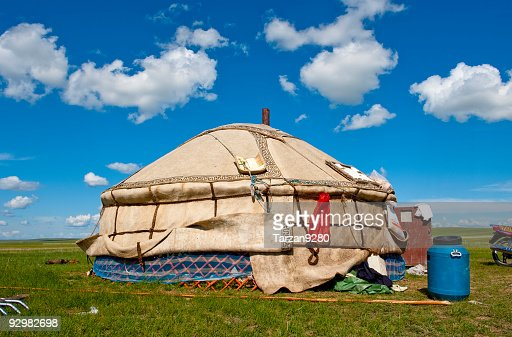 Mongolian tents under clear blue sky