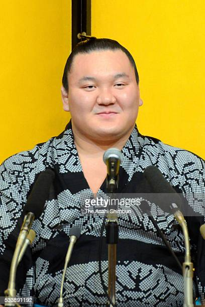 Mongolian yokozuna Hakuho attends a press conference a day after winning the Grand Sumo Summer Tournament on May 23 2016 in Tokyo Japan