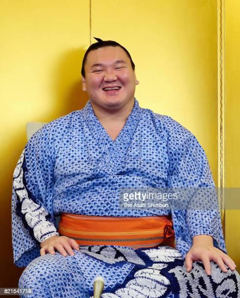 Mongolian yokozuna Hakuho attends a press conference a day after winning the Grand Sumo Nagoya Tournament on July 24 2017 in Nagoya Aichi Japan