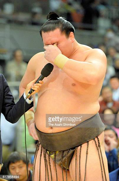Mongolian yokozuna Hakuho is interviewed after winning the tournament during day fifteen of the Grand Sumo Spring Tournament at the Edion Arena Osaka...