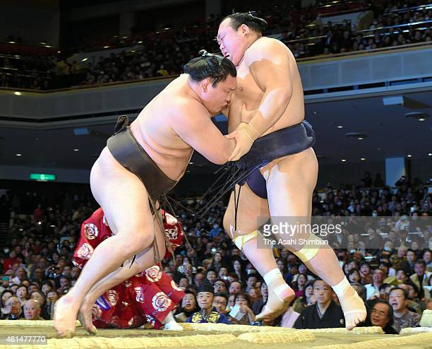 Mongolian yokozuna Hakuho pushes Takarafuji out of the ring to win during day three of the Grand Sumo New Year tournament at Ryogoku Kokugikan on...