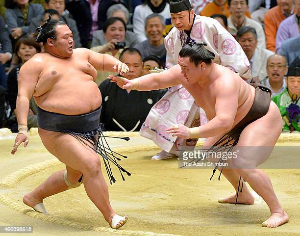 Mongolian yokozuna Hakuho pushes Toyonoshima out of the ring to win during day eight of the Grand Sumo Spring Tournament at Bodymaker Colosseum on...