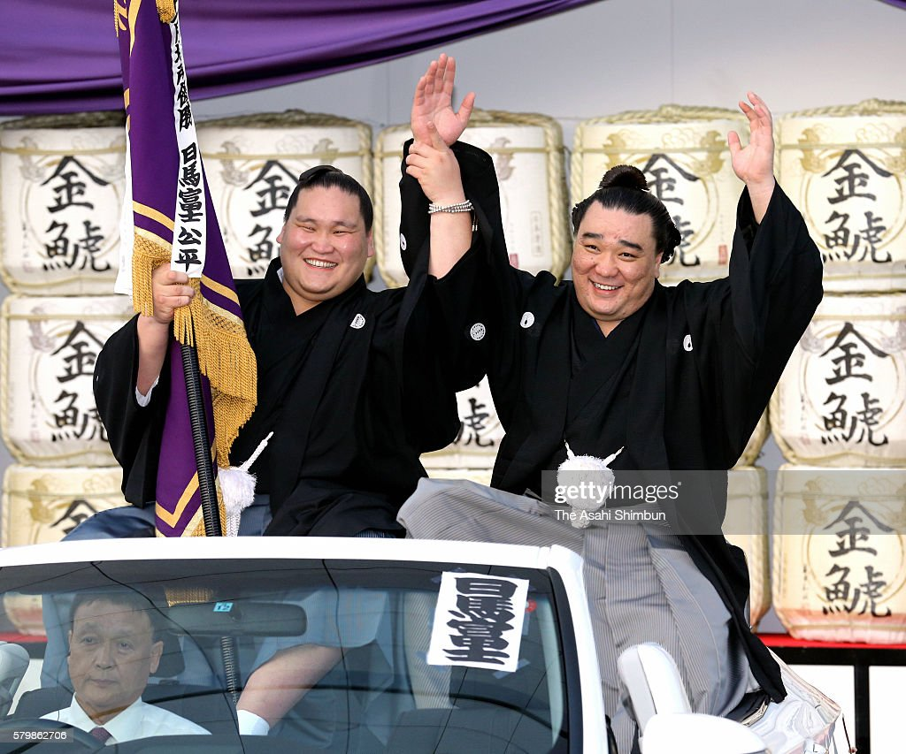 Mongolian yokozuna Harumafuji celebrates during the winning parade after winning the tournament during day fifteen of the Grand Sumo Nagoya...