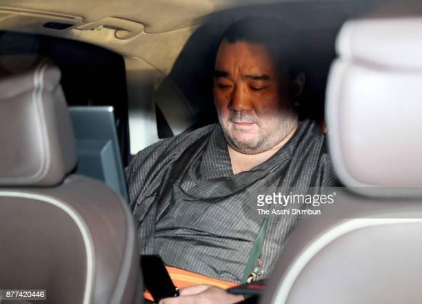 Mongolian yokozuna Harumafuji is seen after the Japan Sumo Association hearing at Ryogoku Kokugikan on November 17 2017 in Tokyo Japan Yokozuna...