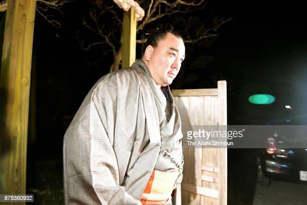 Mongolian yokozuna Harumafuji is seen on departure at Isegahama Stable's temporary quarters on November 16 2017 in Dazaifu Fukuoka Japan Yokozuna...