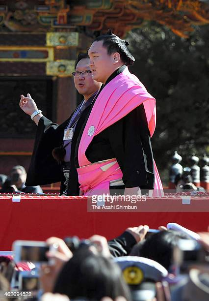 Mongolian yokozuna sumo grand champion Hakuho attends a bean scattering ceremony to mark the end of winter at Naritasan Shinshoji Temple on February...