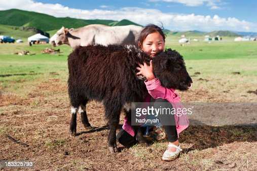 Mongolian young girl playing with yak