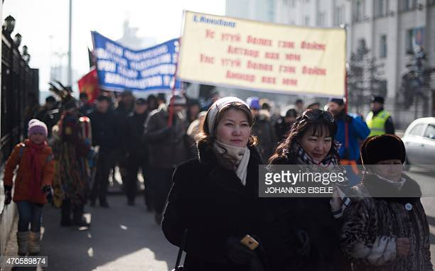 Mongoliapoliticseconomyresources FOCUS by Kelly OLSEN This picture taken on February 9 2015 shows Mongolian women protesting against a Canadian...