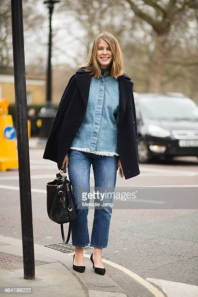 Monica Ainley Joseph Fashion social media editor exits the Issa show during London Fashion Week Fall/Winter 2015/16 at One Great George street on...