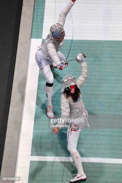 Monica Aksamit of the USA fences against Julieta Toledo of Mexico during the gold medal match in the Team Women's Sabre event on June 17 2017 at the...