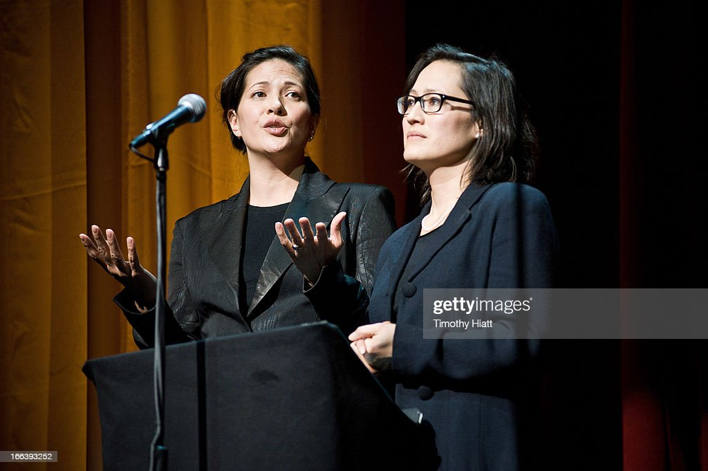Monica and Magan Eng attend the Roger Ebert Memorial Tribute at Chicago Theatre on April 11, 2013 in Chicago, Illinois.