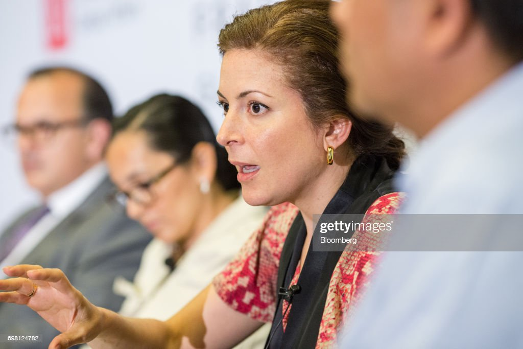 Monica Aspe, Mexico's permanent representative of the Organization for Economic Cooperation and Development (OECD), speaks during the International Economic Association (IEA) World Congress event in Mexico City, Mexico, on Monday, June 19, 2017. The theme of the congress is Globalization, Growth and Sustainability. Photographer: Brett Gundlock/Bloomberg via Getty Images